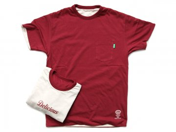 Delicious [ Reversible Pocket Tee ] BURGUNDY x OATMEAL