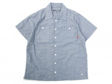 BLUCO [ STANDARD WORK SHIRTS S/S ] NAVY STRIPE