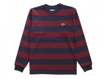 Delicious [ Little Trees Logo L/S Big Border T-Shirt ] BURGUNDY x NAVY