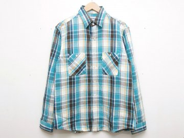 Delicious [ Heavy Flannel Shirt ] Turquoise x Brown x Gold x White