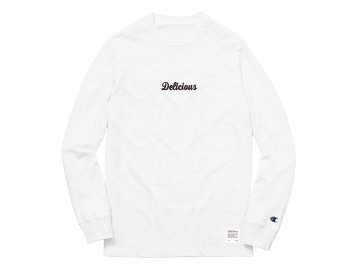 Delicious [ Script Logo L/S Tee (5.1oz Champion Body) ] WHITE