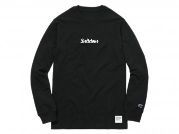 Delicious [ Script Logo L/S Tee (5.1oz Champion Body) ] BLACK