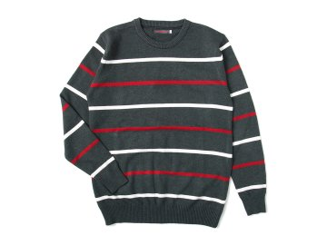 SKITLABEL [ BORDER SWEATER ] VINTAGED BLACK