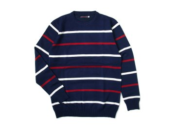 SKITLABEL [ BORDER SWEATER ] NAVY