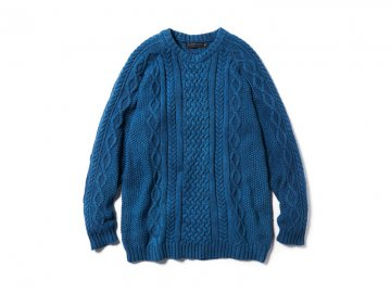 68&BROTHERS [ Cotton Cable Knit Crew_Indigo ]