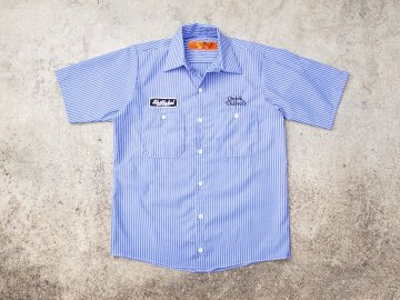 SKITLABEL [ S/S WORK SHIRTS ] BLUE x WHITE