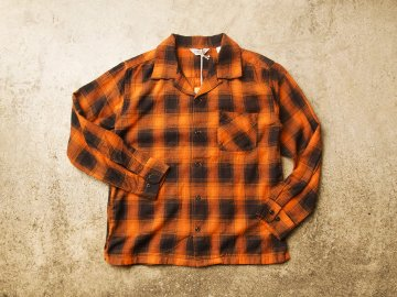 FIVE BROTHER [ L/S OPEN COLLAR SHIRT ] BLACK x ORANGE