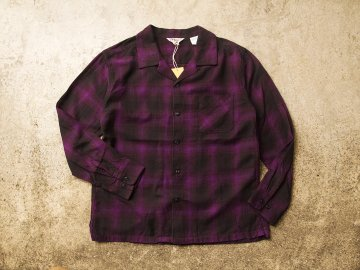 FIVE BROTHER [ L/S OPEN COLLAR SHIRT ] BLACK x PURPLE