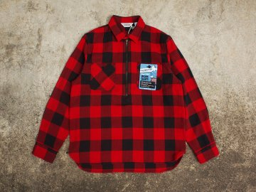 FIVE BROTHER [ HEAVY FLANNEL HALF-ZIP SHIRTS ] BUFFALO RED