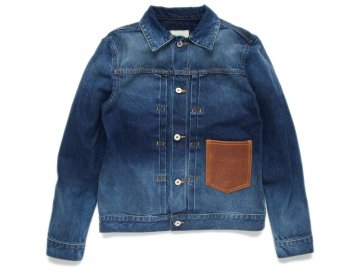 Nisus Hotel [ Leather Pocket Selvedge Denim Jacket ] V. WASH