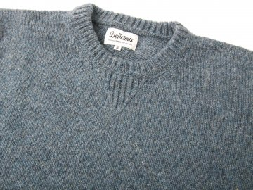 Delicious by Fisherman out of ireland [ Vintage Crew Knit ] FADED DENIM