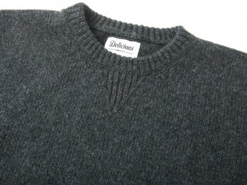 Delicious by Fisherman out of ireland [ Vintage Crew Knit ] CHACOAL