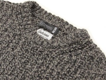 Delicious by Fisherman out of ireland [ Heavy Waffle Crew Knit ] GRAY STONE