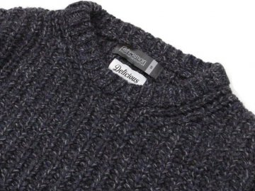 Delicious by Fisherman out of ireland [ Heavy Waffle Crew Knit ] FADED DENIM