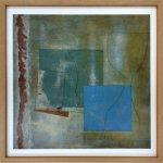 【抽象画】北欧 スカンジナビアアート  緑のゴブレットと青い四角(1961)