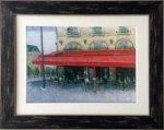 【絵画 油絵】手描き原画 パリのカフェ、サンミッシェル(石川佳図)