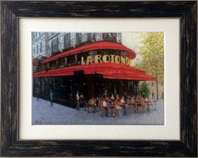 【絵画 油絵】手描き原画 パリのカフェ、モンパルナス(石川佳図)