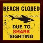 【アートフレーム】サインフレーム サメが目撃されたため、ビーチ閉鎖。【ゆうパケット】