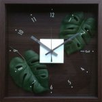 【時計】デザイン クロック リーフ モンステラ