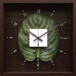【時計】デザイン クロック リーフ カトレア