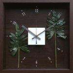 【時計】デザイン クロック リーフ フィロデンドロン クッカバラ