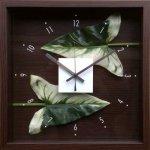 【時計】デザイン クロック リーフ アンスリウムの葉っぱ