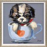 【絵画 油絵】オイル ペイント アート「ティーカップ ドッグ1(Sサイズ)」