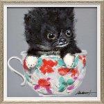 【絵画 油絵】オイル ペイント アート「ティーカップ ドッグ2(Sサイズ)」