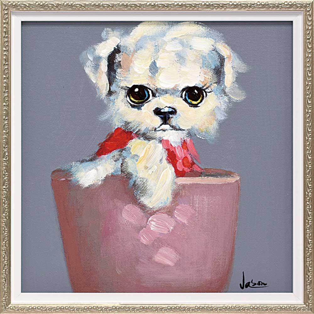 【絵画 油絵】オイル ペイント アート「ティーカップ ドッグ3(Sサイズ)」
