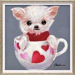 【絵画 油絵】オイル ペイント アート「ティーカップ ドッグ4(Sサイズ)」