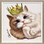 【絵画 油絵】オイル ペイント アート「キング キャット(Sサイズ)」