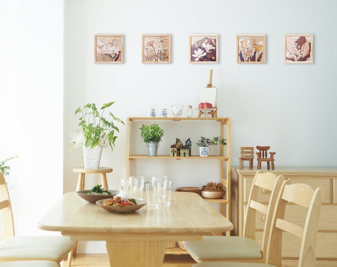 【木の絵画・ウッドアート】季節のお花 アトリエやしろ ゆうパケット