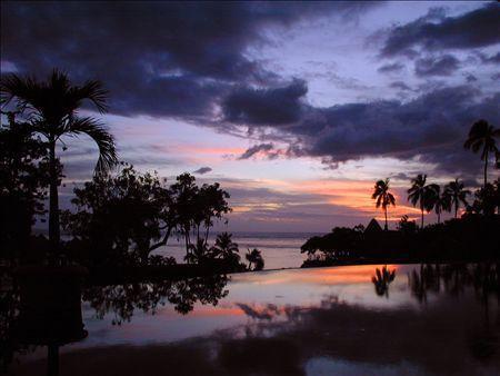 《アートフォト》タヒチ島 紫の夕焼け(レンタル対象)