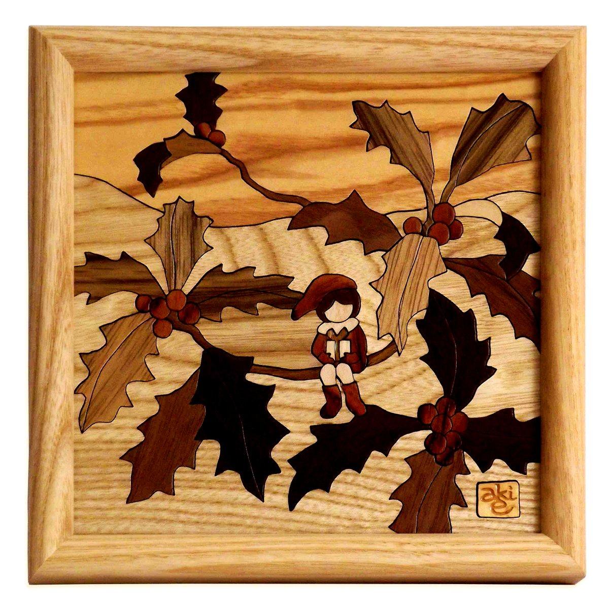 【木の絵画・ウッドアート】季節のお花 柊-ヒイラギ アトリエやしろ ゆうパケット