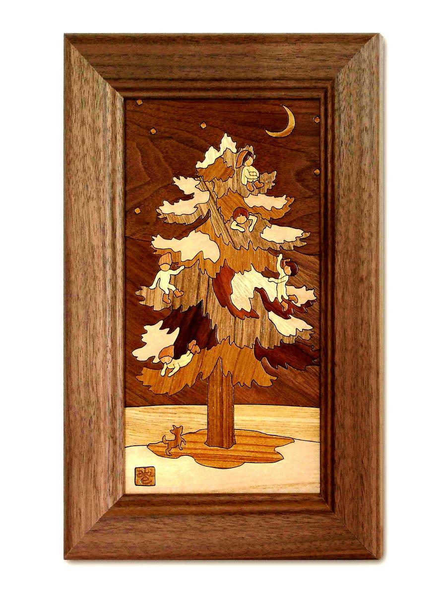 【木の絵画・ウッドアート】もみの木 アトリエやしろ