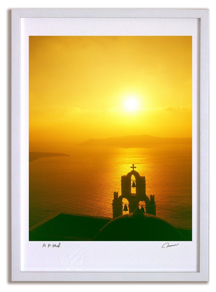 《アートフォト》ギリシャ エーゲ海 サントリーニの夕焼け(レンタル対象)