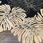 【木彫りアート】ウッド スカルプチャー アート「ワイルド モンステラ(BK+NP)」