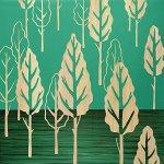 【木彫りアート】ウッド スカルプチャー アート「フォレスト ツリー(GR+NP)」