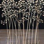 【木彫りアート】ウッド スカルプチャー アート「フィールド フラワー2(BK+NP)」