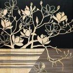 【木彫りアート】ウッド スカルプチャー アート「マグノリア with ベース(BK+NP)」