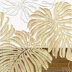 【木彫りアート】ウッド スカルプチャー アート「ワイルド モンステラS(WH+NP)」
