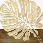 【木彫りアート】ウッド スカルプチャー アート「シングル モンステラ2(WH+NP)」