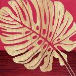 【木彫りアート】ウッド スカルプチャー アート「シングル モンステラ2(RD+NP)」