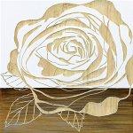 【木彫りアート】ウッド スカルプチャー アート「ローズ2(WH+NP)」
