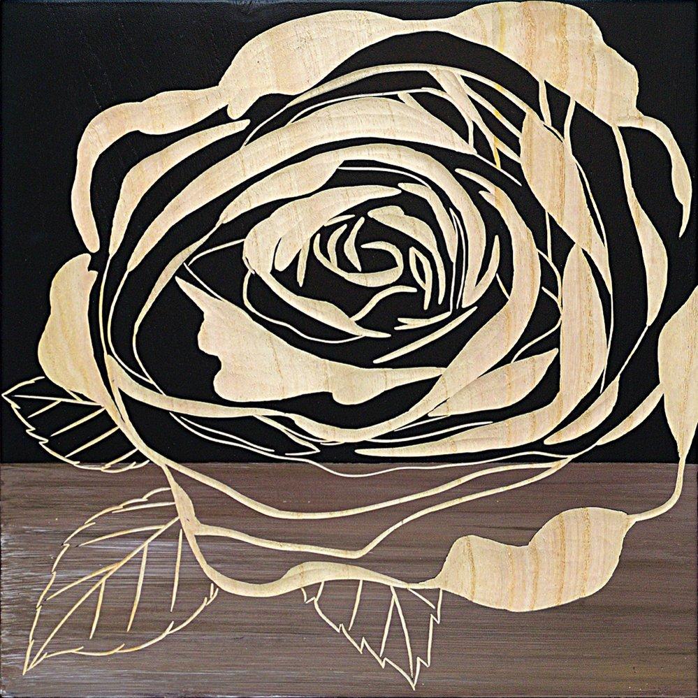 【木彫りアート】ウッド スカルプチャー アート「ローズ2(BK+NP)」