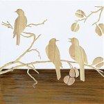 【木彫りアート】ウッド スカルプチャー アート「スリー バード2(WH+NP)」