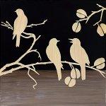 【木彫りアート】ウッド スカルプチャー アート「スリー バード2(BK+NP)」