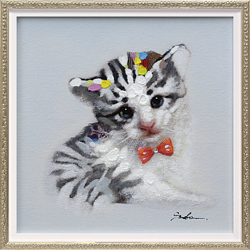 【手描き油絵】オイル ペイント アート「キャット イン ゼブラ(Sサイズ)」
