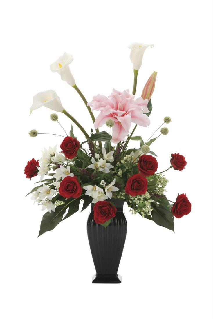 【アートフラワー 造花】グレ—スカサブランカ〔テーブルタイプ〕
