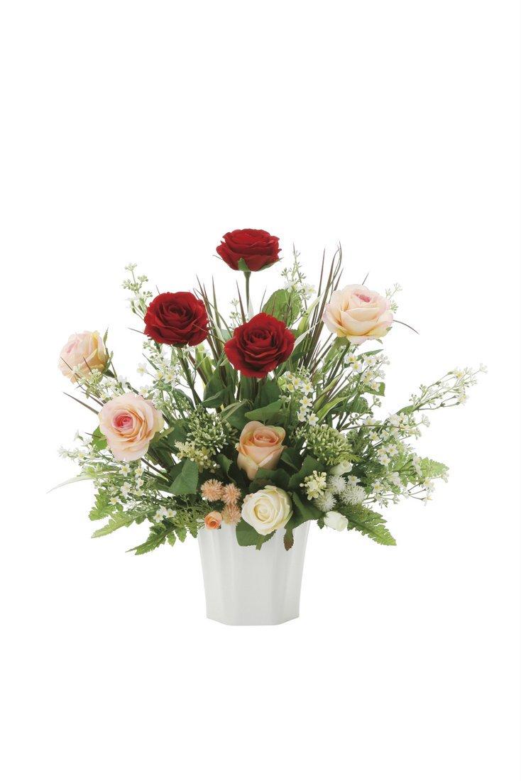 【アートフラワー 造花】ソレイユロ—ズ〔テーブルタイプ〕